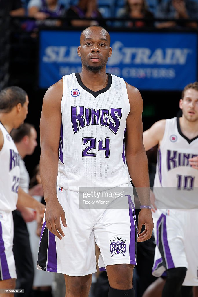Carl Landry of the Sacramento Kings looks on during the game against the Charlotte Hornets on March 20 2015 at Sleep Train Arena in Sacramento...