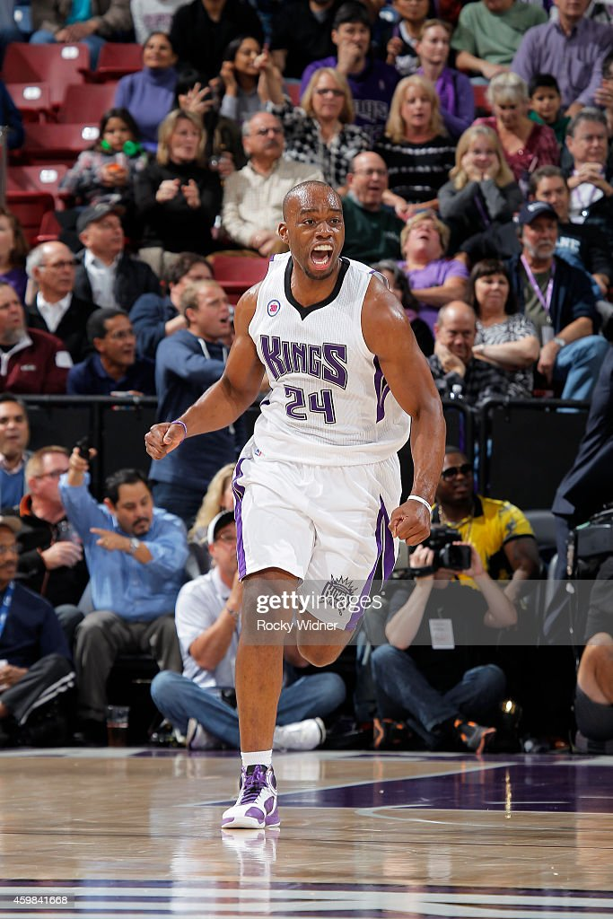 Carl Landry of the Sacramento Kings reacts during the game against the New Orleans Pelicans on November 18 2014 at Sleep Train Arena in Sacramento...