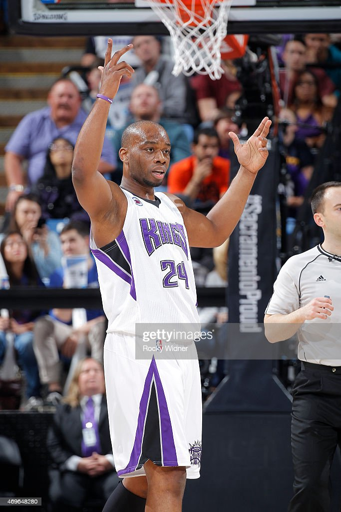 Carl Landry of the Sacramento Kings reacts during the game against the Utah Jazz on April 5 2015 at Sleep Train Arena in Sacramento California NOTE...