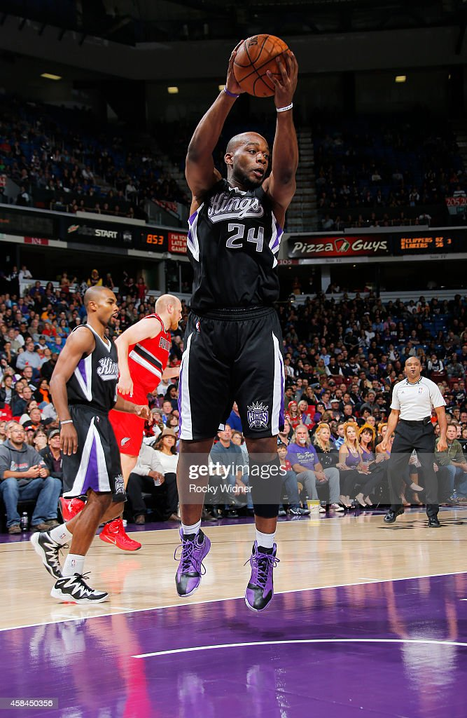Carl Landry of the Sacramento Kings rebounds against the Portland Trail Blazers on October 31 2014 at Sleep Train Arena in Sacramento California NOTE...