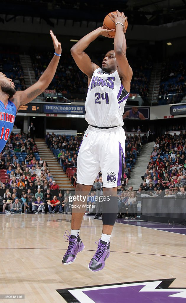 Carl Landry of the Sacramento Kings shoots against the Detroit Pistons on December 13 2014 at Sleep Train Arena in Sacramento California NOTE TO USER...