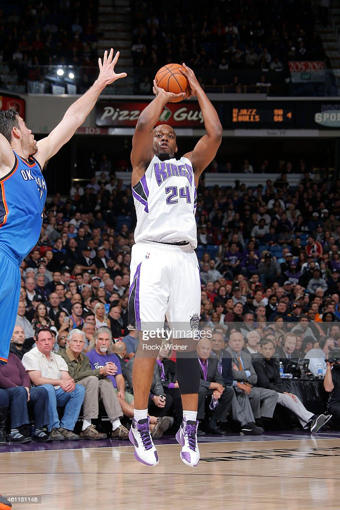 Carl Landry of the Sacramento Kings shoots against the Oklahoma City Thunder on January 7 2015 at Sleep Train Arena in Sacramento California NOTE TO...