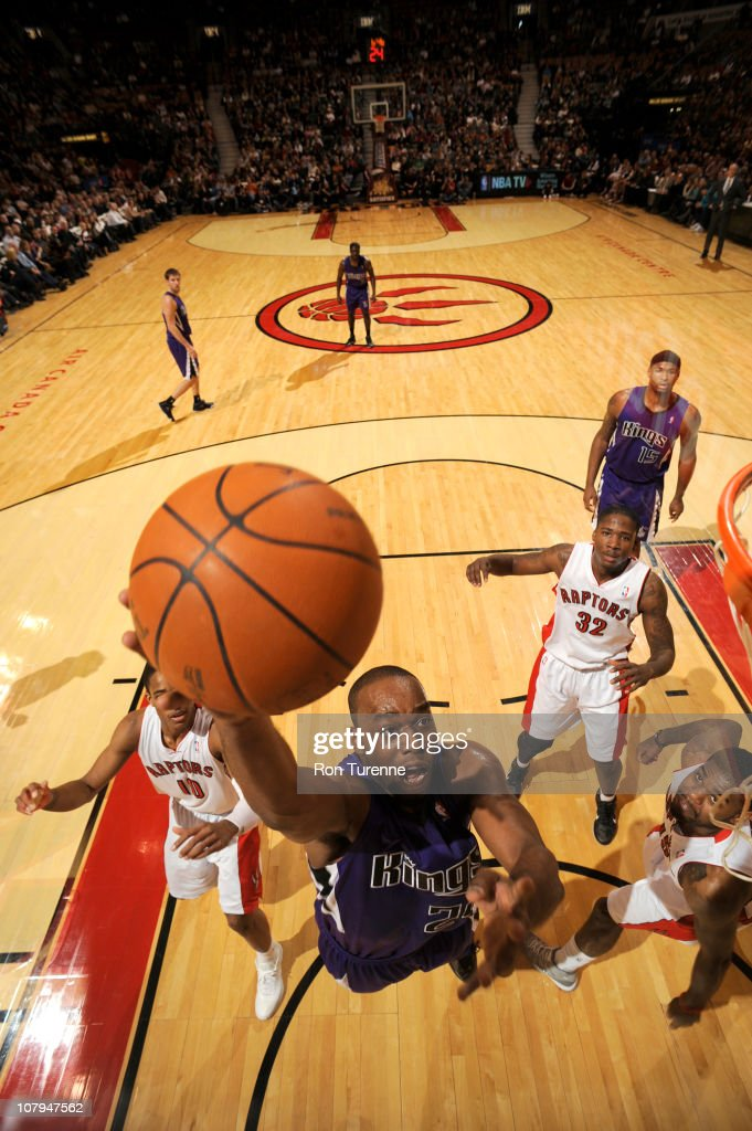 Carl Landry of the Sacramento Kings shoots against the Toronto Raptors during a game on January 9 2011 at the Air Canada Centre in Toronto Ontario...