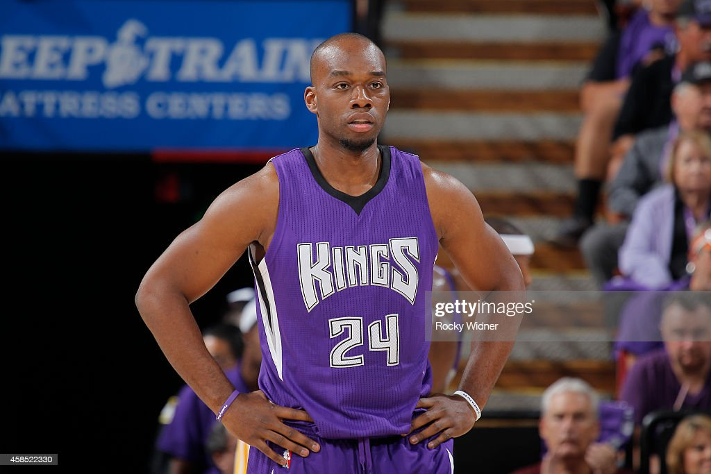 Carl Landry of the Sacramento Kings stands on the court during the game against the Golden State Warriors on October 29 2014 at Sleep Train Arena in...