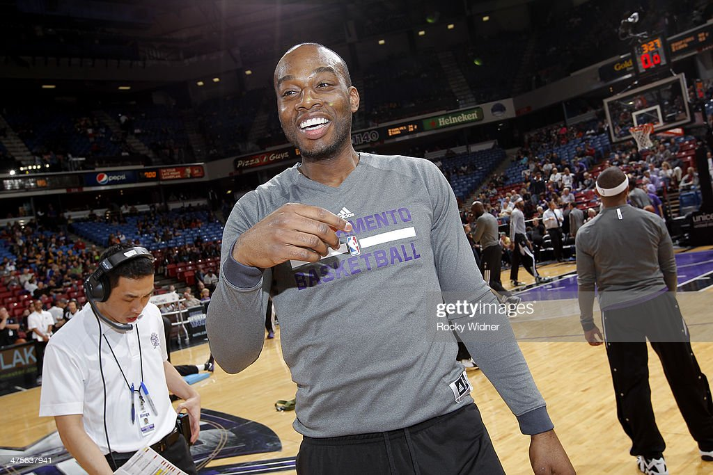 Carl Landry of the Sacramento Kings warms up against the Houston Rockets on February 25 2014 at Sleep Train Arena in Sacramento California NOTE TO...