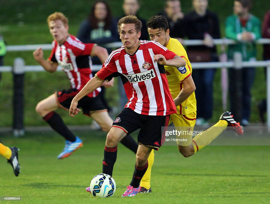 Carl Lawson of Sunderland during the Barclays U21 Premier League match between Sunderland U21 and Liverpool U21 at Eppleton Colliery Welfare ground on August 19, 2014 in Hetton Le Hole, England.