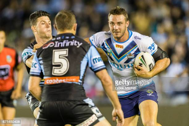 Carl Lawton of the Titans runs the ball during the round eight NRL match between the Cronulla Sharks and the Gold Coast Titans at Southern Cross...