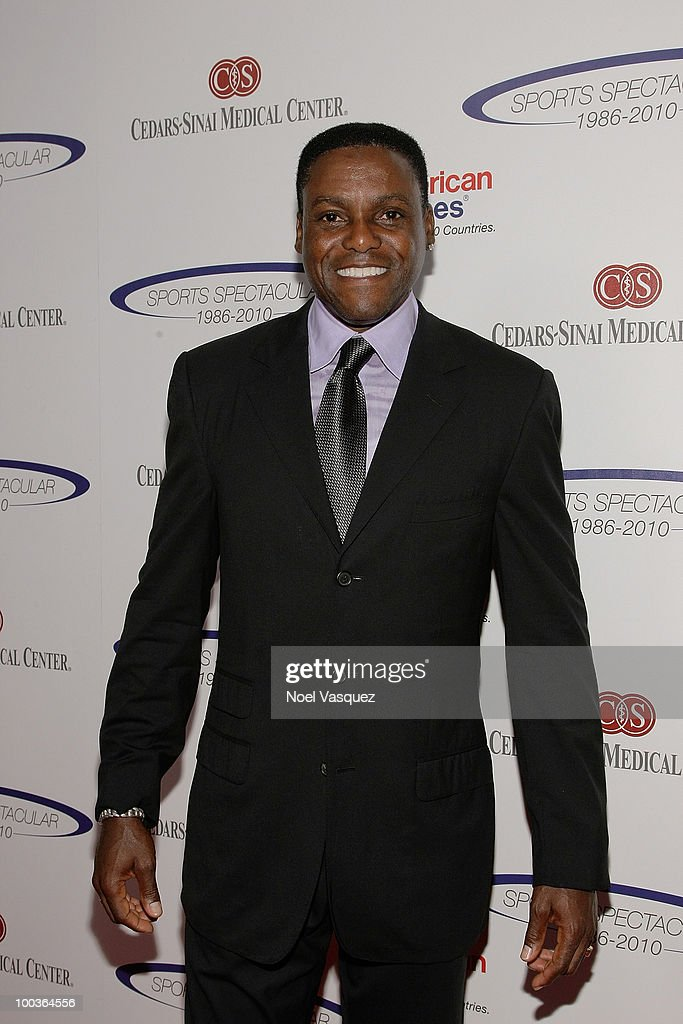 Carl Lewis attends the 25th anniversary of Cedars-Sinai Sports Spectacular Hyatt Regency Century Plaza on May 23, 2010 in Century City, California.