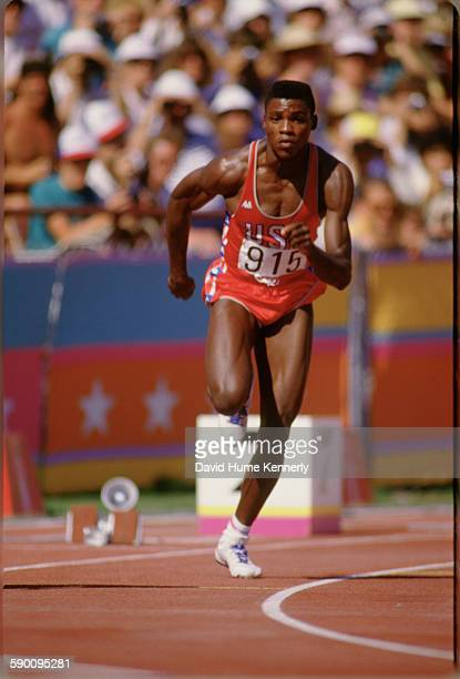 Carl Lewis competes at one of the track and field event during the Olympic Games August 8 in Los Angeles