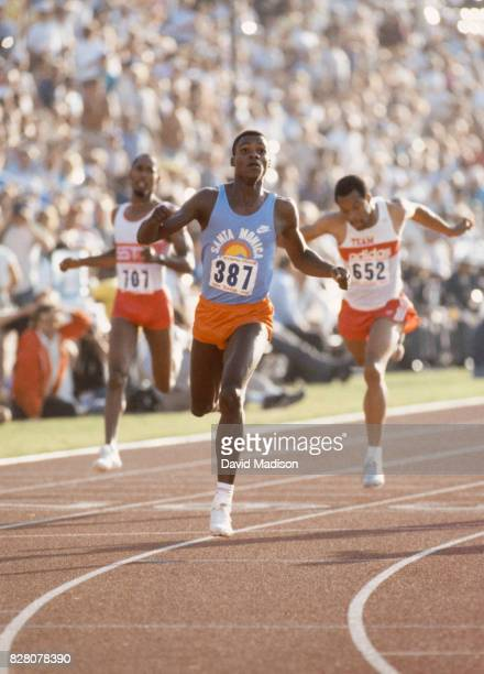 Carl Lewis of the Santa Monica Track Club wins the final of the Men's 200 meter race of the 1984 United States Olympic Track and Field Trials on June...