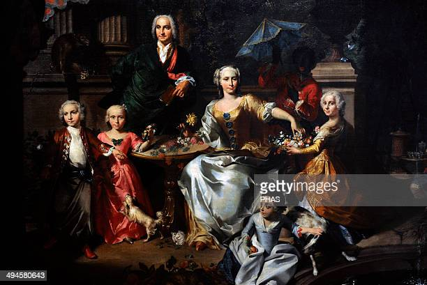 Carl Marcus Tuscher German painter and architect A Family Group on a Terrace in the Grounds of a Villa possibly George Jackson and his family 1737...