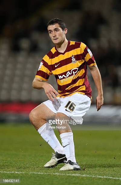 Carl McHugh of Bradford City in action during The FA Cup with Budweiser First Round Replay between Bradford City and Northampton Town at Coral...