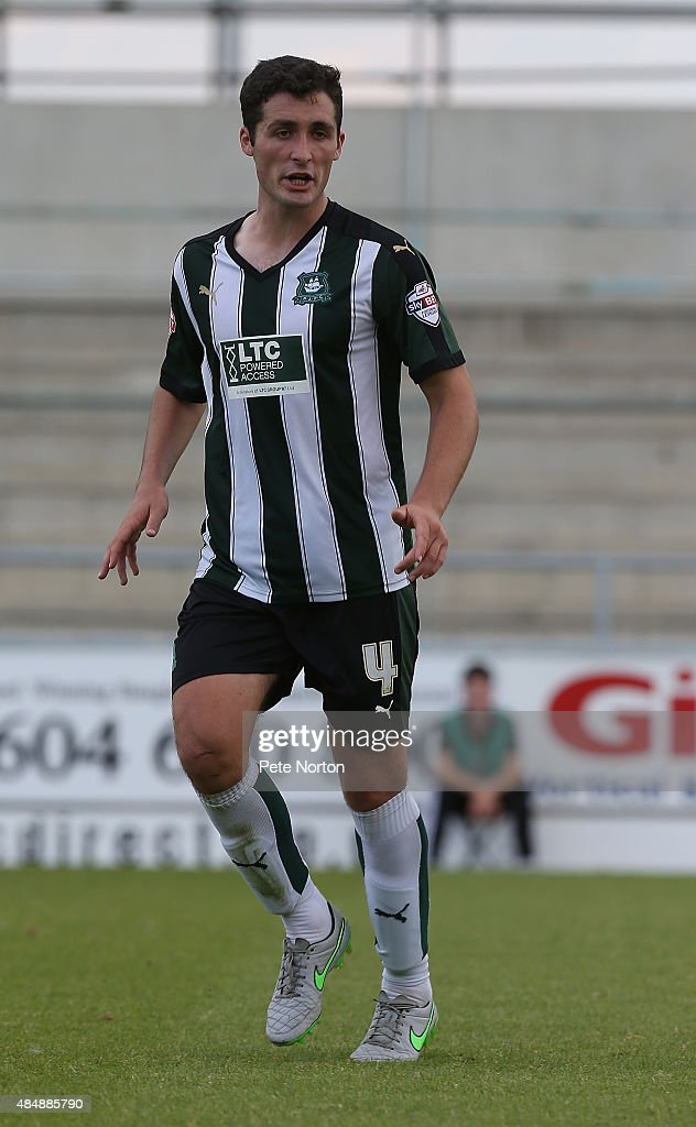 Carl McHugh of Plymouth Argyle in action during the Sky Bet League Two match between Northampton Town and Plymouth Argyle at Sixfields Stadium on August 22, 2015 in Northampton, England.