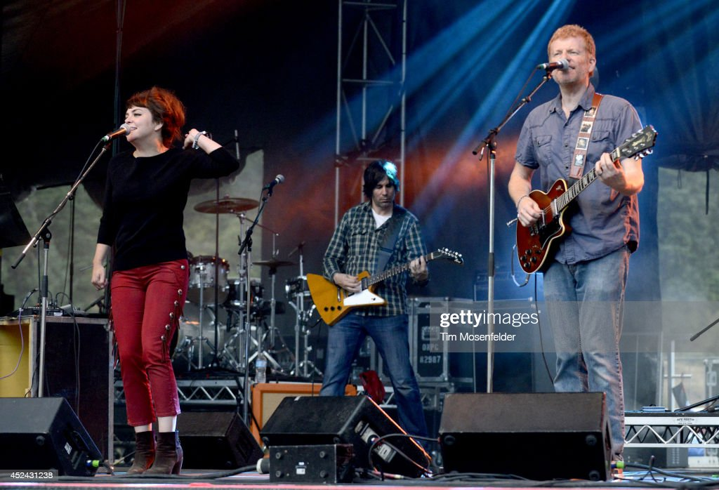 Carl Newman (R) and the New Pornographers perform during the Pemberton Music and Arts Festival at on July 19, 2014 in Pemberton, British Columbia.