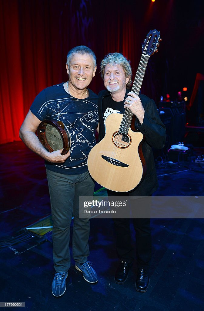 <a gi-track='captionPersonalityLinkClicked' href=/galleries/search?phrase=Carl+Palmer&family=editorial&specificpeople=1631170 ng-click='$event.stopPropagation()'>Carl Palmer</a> and Jon Anderson during the Fourth Annual Vegas Rocks! Magazine Music Awards 2013 at the Hard Rock Hotel and Casino on August 25, 2013 in Las Vegas, Nevada.