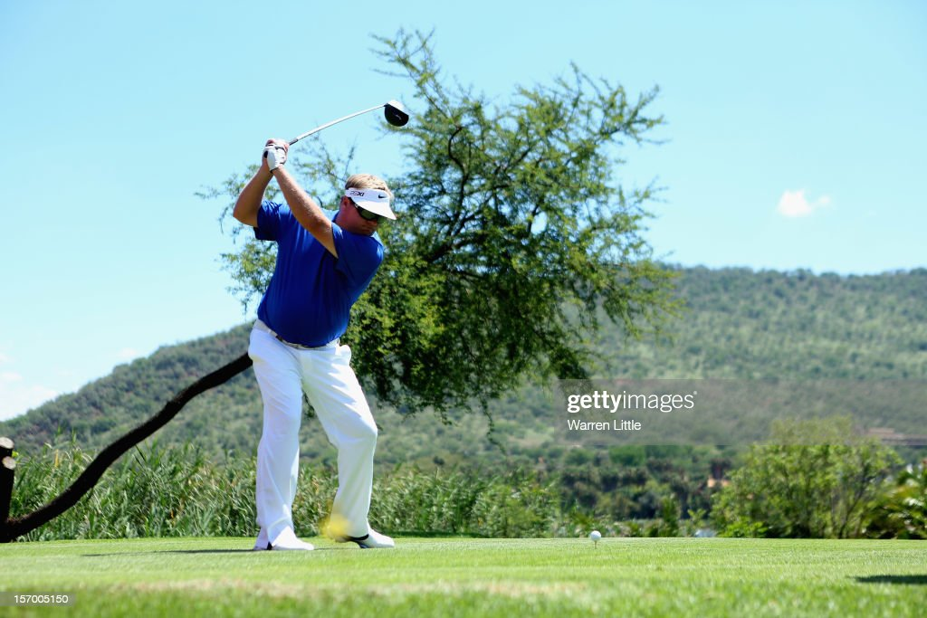 Carl Pettersson of Sweden in action during a practice round ahead of the Nedbank Golf Challenge at the Gary Player Country Club on November 27, 2012 in Sun City, South Africa.
