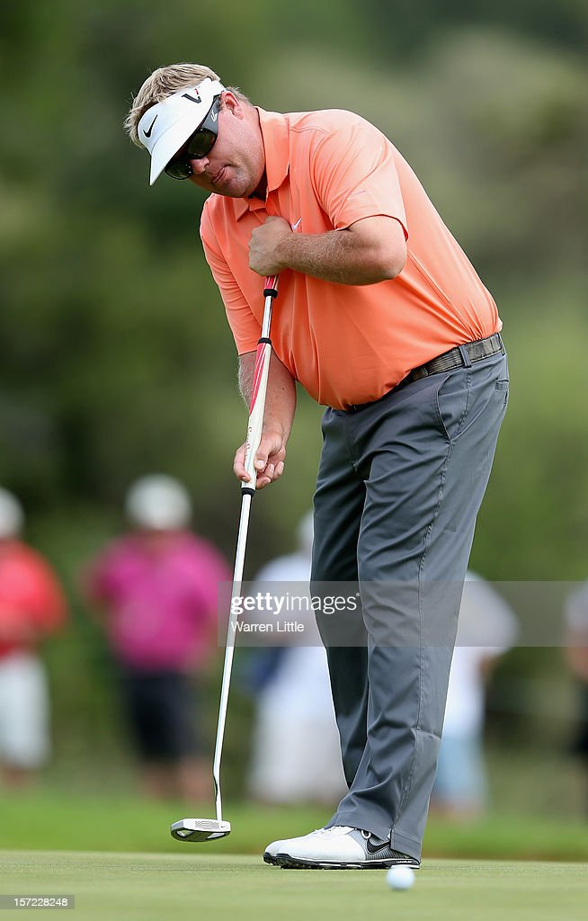 Carl Pettersson of Sweden in action during the second round of the Nedbank Golf Challenge at the Gary Player Country Club on November 30, 2012 in Sun City, South Africa.