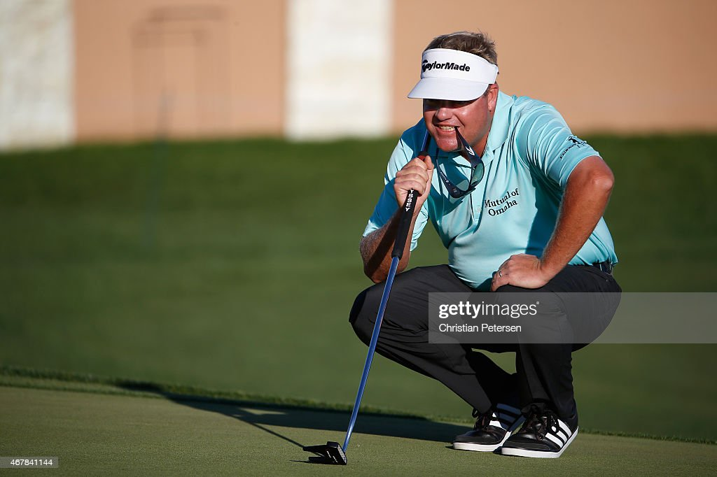 Carl Pettersson of Sweden lines up a putt on the 18th hole during round two of the Valero Texas Open at TPC San Antonio ATT Oaks Course on March 27...