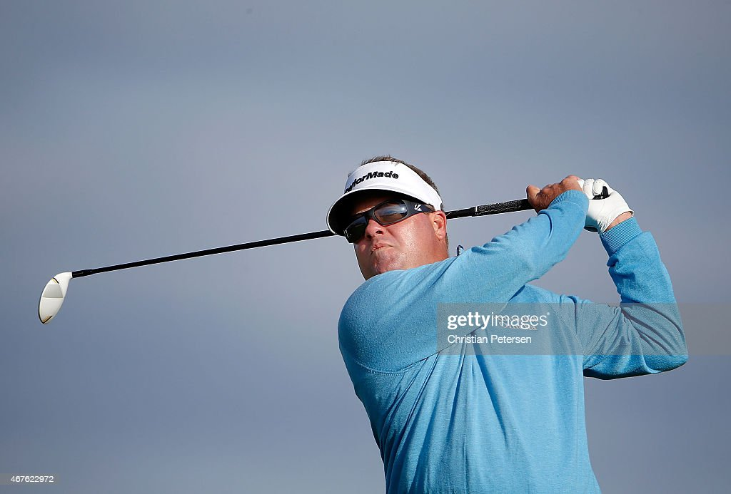 Carl Pettersson of Sweden tees off on the 11th hole during round one of the Valero Texas Open at TPC San Antonio ATT Oaks Course on March 26 2015 in...