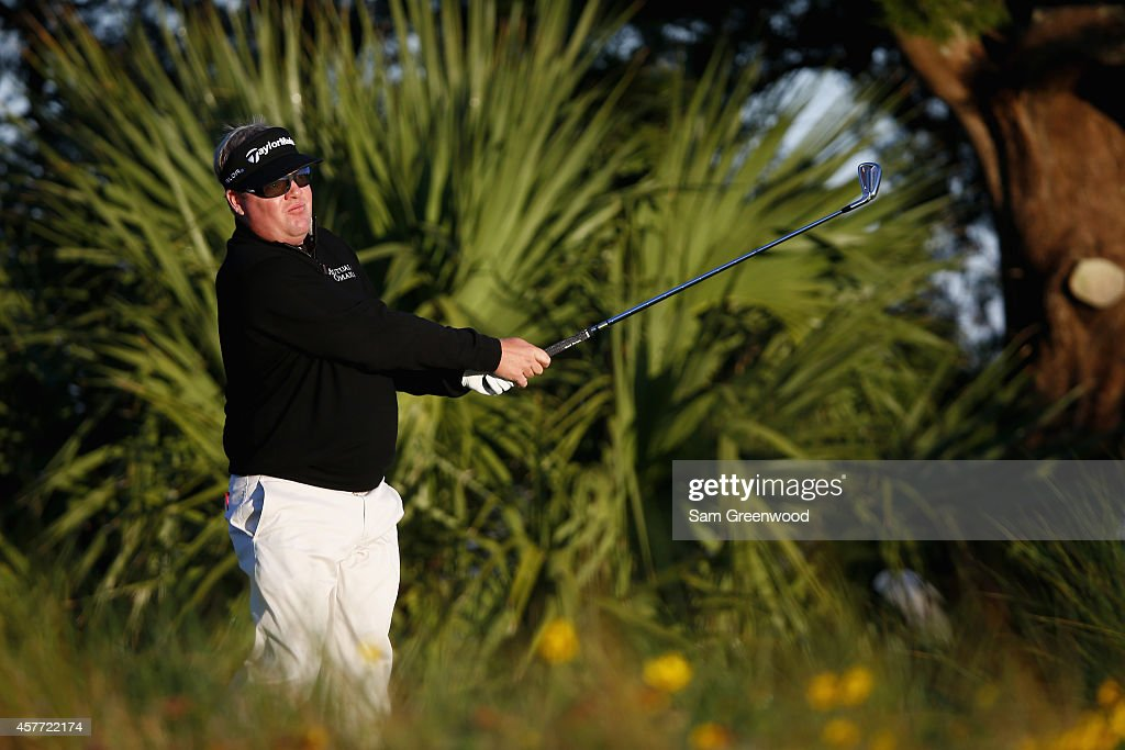 Carl Pettersson of Sweden tees off the 12th hole during the first round of The McGladrey Classic at Sea Island's Seaside Course on October 23 2014 in...