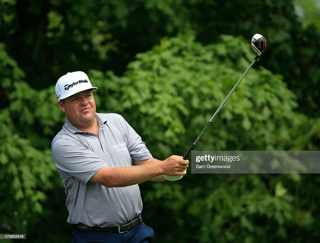 Carl Pettersson of Sweden watches his tee shot on the 14th hole during the first round of The Memorial Tournament presented by Nationwide at...