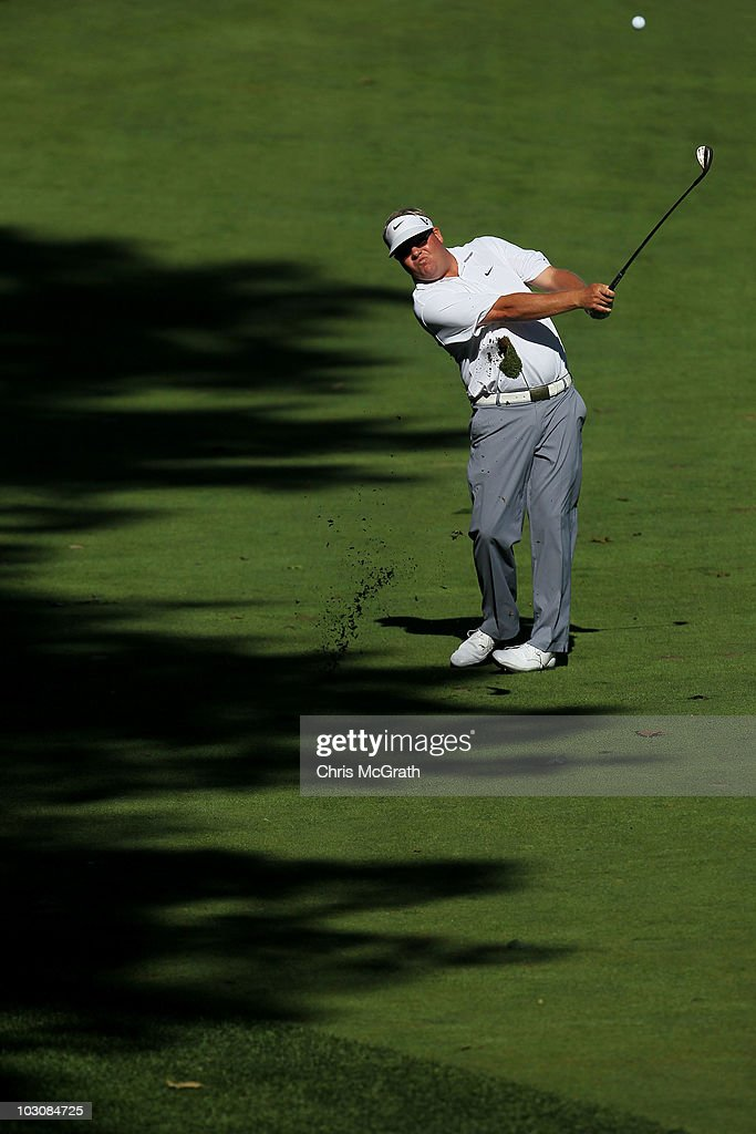 Carl Pettersson plays his second shot on the 15th hole during the final round of the 2010 RBC Canadian Open at St George's Golf and Country Club on...