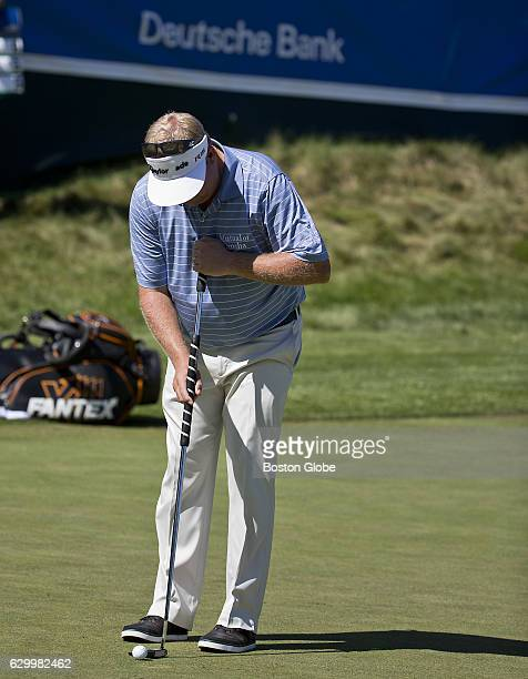 Carl Pettersson prepares to hit his putt on the 9th hole during the secondround action at the Deutsche Bank Championship at TPC Boston in Norton MA...