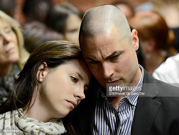 Carl Pistorius and Aimee Pistorius attend the appearance of their brother South African Olympic sprinter Oscar Pistorius on February 19 2013 at the...