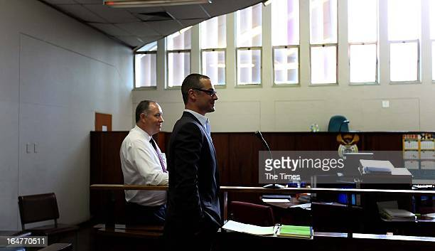Carl Pistorius appears at the Vanderbijlpark Magistrate's Court on March 27 2013 in Vanderbijlpark South Africa Pistorius appeared in court on...