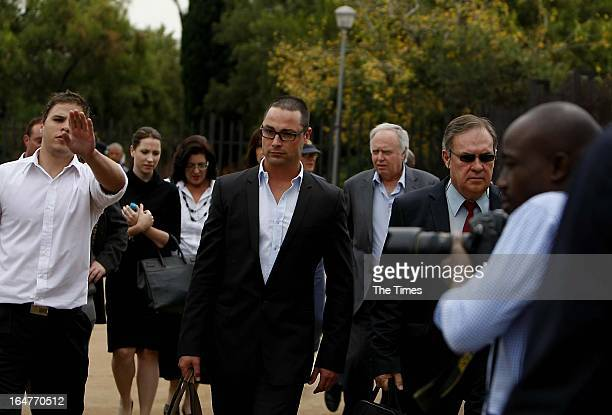 Carl Pistorius arrives at the Vanderbijlpark Magistrate's Court on March 27 2013 in Vanderbijlpark South Africa Pistorius appeared in court on...