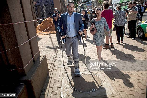 Carl Pistorius brother of Oscar Pistorius arrives at the North Gauteng High Court as the Oscar Pistorius sentencing enters it's fifth day on October...