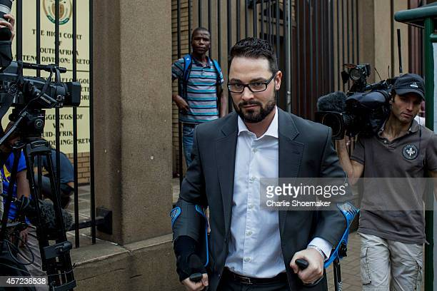Carl Pistorius brother of Oscar Pistorius arrives at North Gauteng High Court on October 15 2014 in Pretoria South Africa Pistorius will be sentenced...