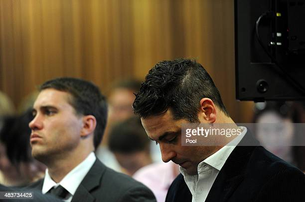 Carl Pistorius listens to Oscar's testimony in the Pretoria High Court on April 10 in Pretoria South Africa Oscar Pistorius stands accused of the...