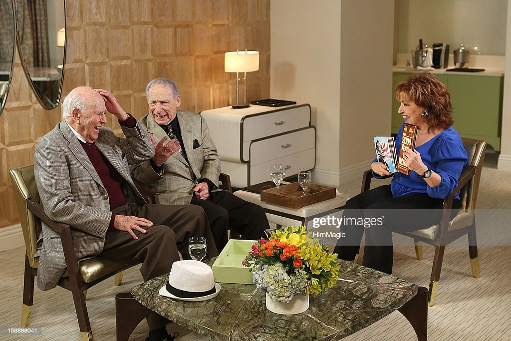 <a gi-track='captionPersonalityLinkClicked' href=/galleries/search?phrase=Carl+Reiner&family=editorial&specificpeople=660635 ng-click='$event.stopPropagation()'>Carl Reiner</a>, <a gi-track='captionPersonalityLinkClicked' href=/galleries/search?phrase=Mel+Brooks&family=editorial&specificpeople=208129 ng-click='$event.stopPropagation()'>Mel Brooks</a> and <a gi-track='captionPersonalityLinkClicked' href=/galleries/search?phrase=Joy+Behar&family=editorial&specificpeople=214608 ng-click='$event.stopPropagation()'>Joy Behar</a> on set for Current TV at The London Hotel on January 2, 2013 in West Hollywood, California.