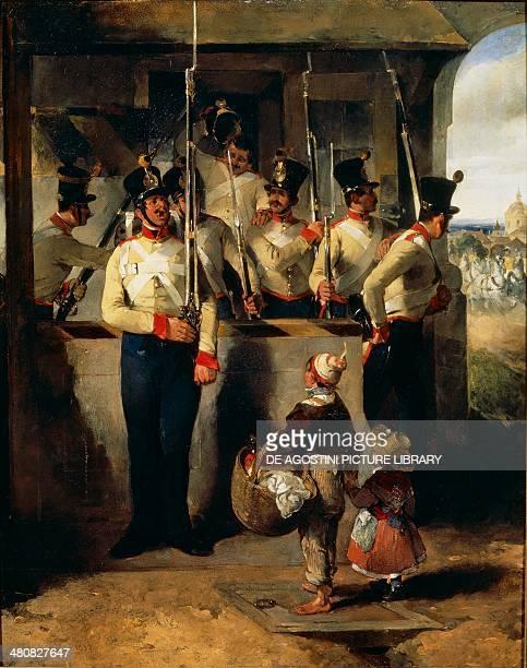 Carl Schindler Die Schildwache in das Gewehr rufend oil on canvas 45x36 cm Vienna Österreichischer Galerie Belvedere