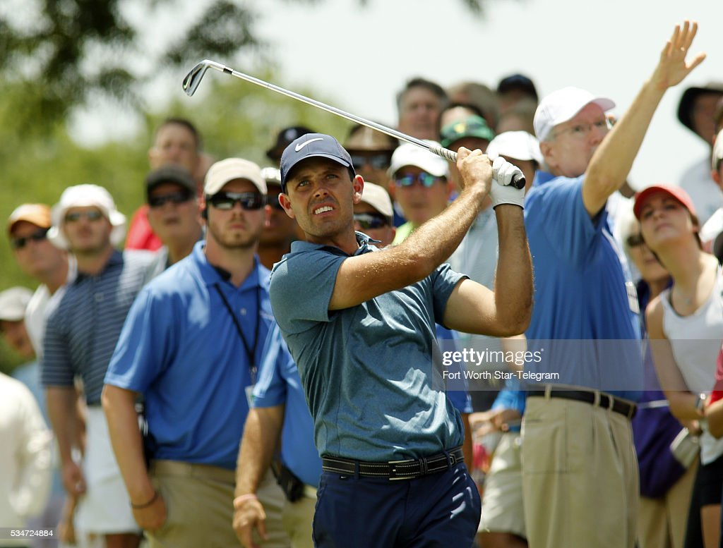 Carl Schwartzel watches a shot from the rough on the eleventh fairway at the Dean & DeLuca Invitational on May 27, 2016 in Fort Worth, Texas.