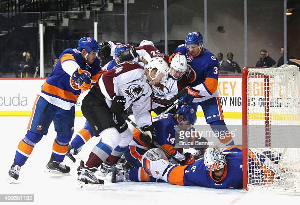 Carl Soderberg and the Colorado Avalanche are stopped by Thomas Greiss of the New York Islanders during the third period at the Barclays Center on...