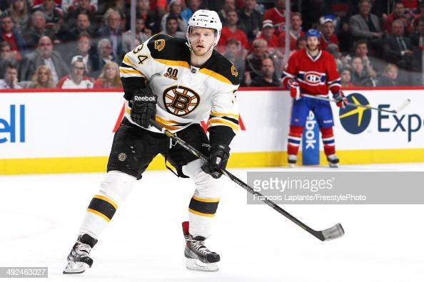 Carl Soderberg of the Boston Bruins skates against the Montreal Canadiens in Game Six of the Second Round of the 2014 NHL Stanley Cup Playoffs at the...