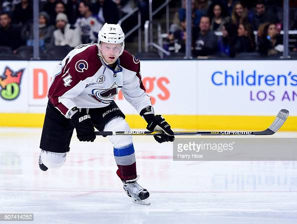 Carl Soderberg of the Colorado Avalanche forechecks against the Los Angeles Kings at Staples Center on January 27 2016 in Los Angeles California