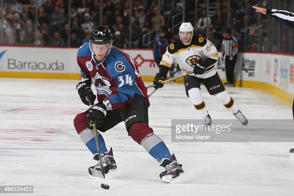 Carl Soderberg of the Colorado Avalanche skates against the Boston Bruins at the Pepsi Center on October 14 2015 in Denver Colorado The Bruins...