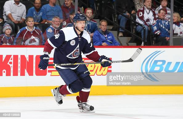 Carl Soderberg of the Colorado Avalanche skates against the Columbus Blue Jackets at the Pepsi Center on October 24 2015 in Denver Colorado The Blue...