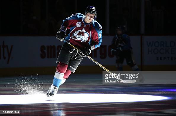 Carl Soderberg of the Colorado Avalanche skates during introductions prior to the game against the Anaheim Ducks at the Pepsi Center on March 9 2016...
