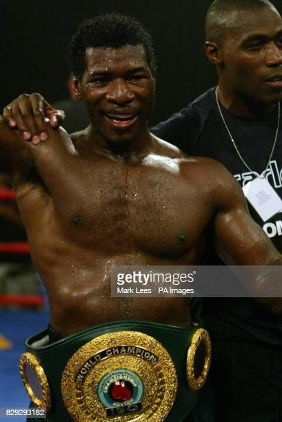 Carl Thompson celebrates after beating David Haye at Wembley Arena to retain the IBO Cruiserweight Championship of the World