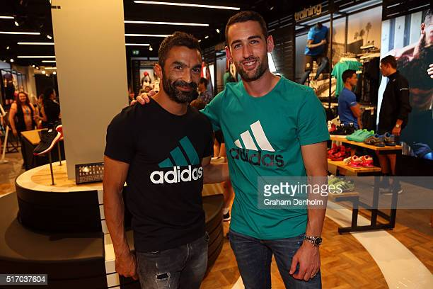 Carl Valeri and Fahid Ben Khalfallah of the Melbourne Victory pose at the new adidas Bourke Street Store on March 23 2016 in Melbourne Australia