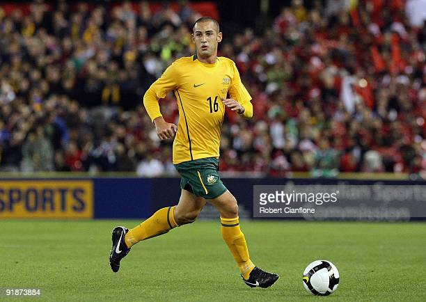 Carl Valeri of Australia controls the ball during the Asian Cup Group B qualifying match between the Australian Socceroos and Oman at Etihad Stadium...