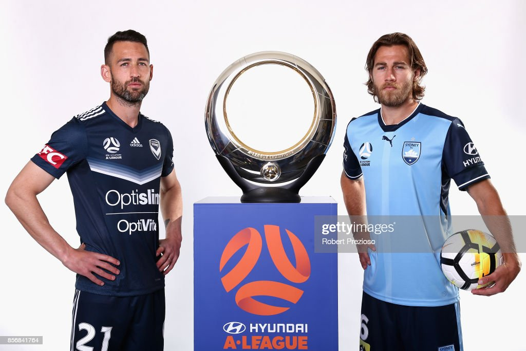 Carl Valeri of Malbourne Victory and Joshua Brillante of Sydney FC pose during the 2017/18 A-League Season Launch at Port Melbourne SC on October 3, 2017 in Melbourne, Australia.