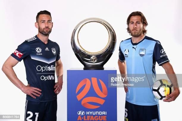 Carl Valeri of Malbourne Victory and Joshua Brillante of Sydney FC pose during the 2017/18 ALeague Season Launch at Port Melbourne SC on October 3...