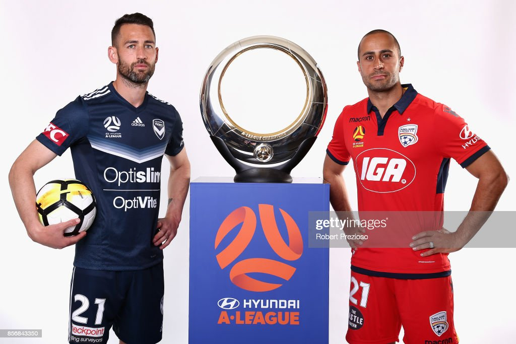 Carl Valeri of Malbourne Victory and Tarek Elrich of Adelaide United pose during the 2017/18 A-League Season Launch at Port Melbourne SC on October 3, 2017 in Melbourne, Australia.