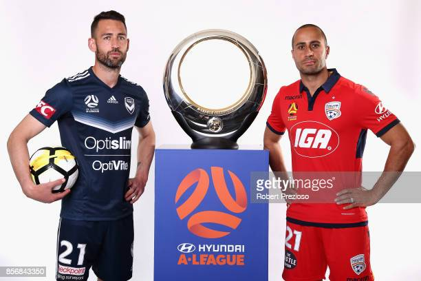 Carl Valeri of Malbourne Victory and Tarek Elrich of Adelaide United pose during the 2017/18 ALeague Season Launch at Port Melbourne SC on October 3...