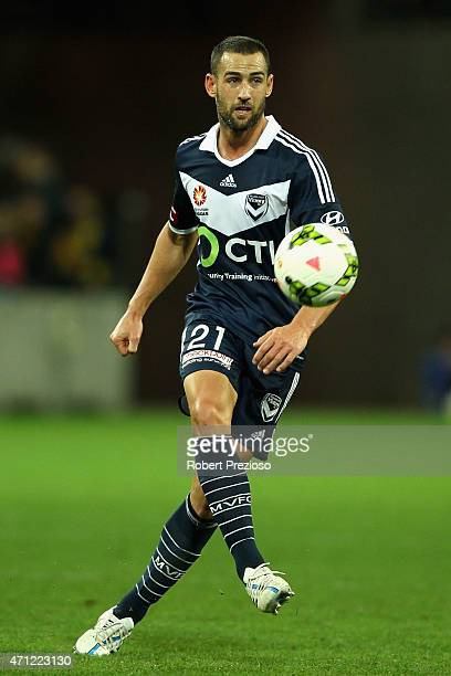 Carl Valeri of Melbourne controls the ball during the round 27 ALeague match between the Melbourne Victory and Central Coast Mariners at AAMI Park on...